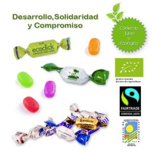 Caramelos 2 lazos Ecológicos y Comercio Justo Personalizados