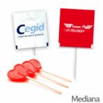 Piruletas Corazon Personalizadas Sobre Impreso Medianas