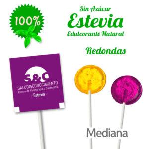 Piruletas Personalizadas Redondas Sobre Impreso Medianas con Estevia