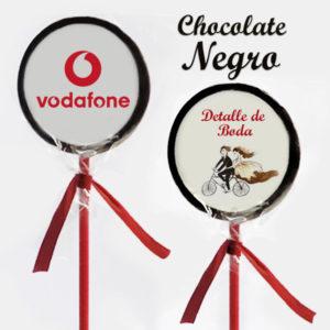 Piruletas Impresas Chocolate Negro